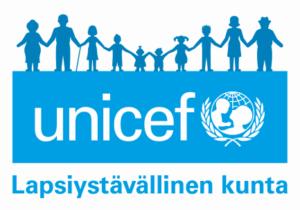 Unicefin Lapsiystävällinen kunta tunnus, jonka Forssan kaupunki on saanut käyttöönsä